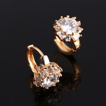 Hesiod Brand New Top Sale New Flower Earrings Gold Color Clear Cubic Zircon Hoop Earrings for Women Bijoux Brinco