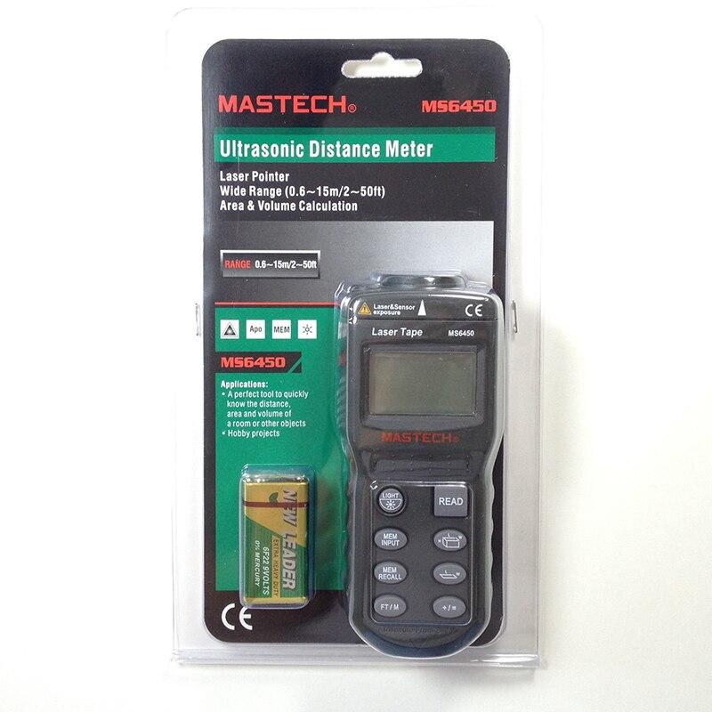 FREESHIPPING! MASTECH MS6450 Laser Guide Ultrasonic Distance Measure Range Finder 15m<br><br>Aliexpress