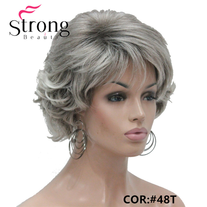 E-7125 #48T New Short Wig Wavy Curly Grey Mix Brown Women's Synthetic Hair Full Wig Thick (6.)_