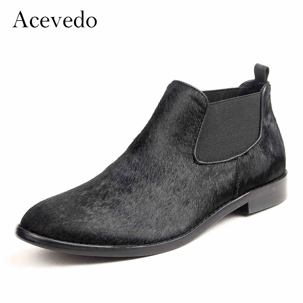 Acevedo autumn and winter male casual shoes vintage genuine leather horsehair foot wrapping ankle boots fashion denim boots <br><br>Aliexpress