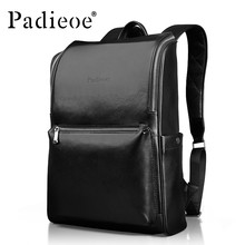 f5a3324bb586 Padieoe Luxury Genuine Cow Leather Men s Travel Backpack Fashion Square  Design Men s Laptop Bag Casual Men s School Backpack