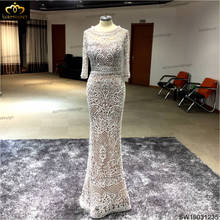 Real Custom Made Scoop Neck 3 Quarter Sleeves Trumpet Sliver Grey Evening Dresses Long 2016 High Quality(China)