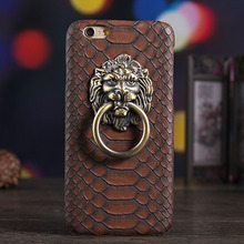 1 Pc/lot Hard PC Vintage Crocodile Grain Lion Head Ring Hold Cell Phone Case Back Cover for iPhone 7 7 Plus 6s 6 Plus 5s SE