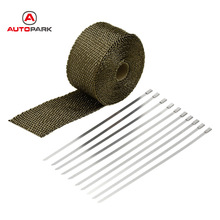 KKmoon Exhaust Pipe Header Heat Wrap Resistant Downpipe 10 Stainless Steel Ties 5mx5cm for Car Motorcycle Accessories & Parts(China)