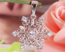 H:HYDE Fashion Womens 1PC Silver Color Clear CZ Zircon Amazing Snowflake Pendant Fine Shipping A567