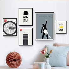 Modern Nordic Wall Pictures Emerson Inspirational Quote Guitar Performer Wheel Cartoon Art Canvas print for Kids Room Home Decor(China)