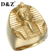 D&Z Hiphop Egypt Cleopatra King Men Ring Iced Out Gold Color Pharaoh Stainless Steel Rings for Men Jewelry