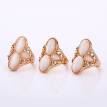 New Female Vintage Unique Opal Rings Accessories Women's Retro Large Natural Stone Party Rings Jewelry Retro Boho Wedding Rings