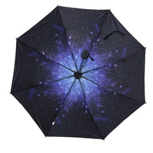 96cm Diameter 3D Starrt Sky/Printed Begonia Flowers Patterns Sun Umbrella Bumbersoll Women's Ladies' Vinyl Anti-UV Umbrella