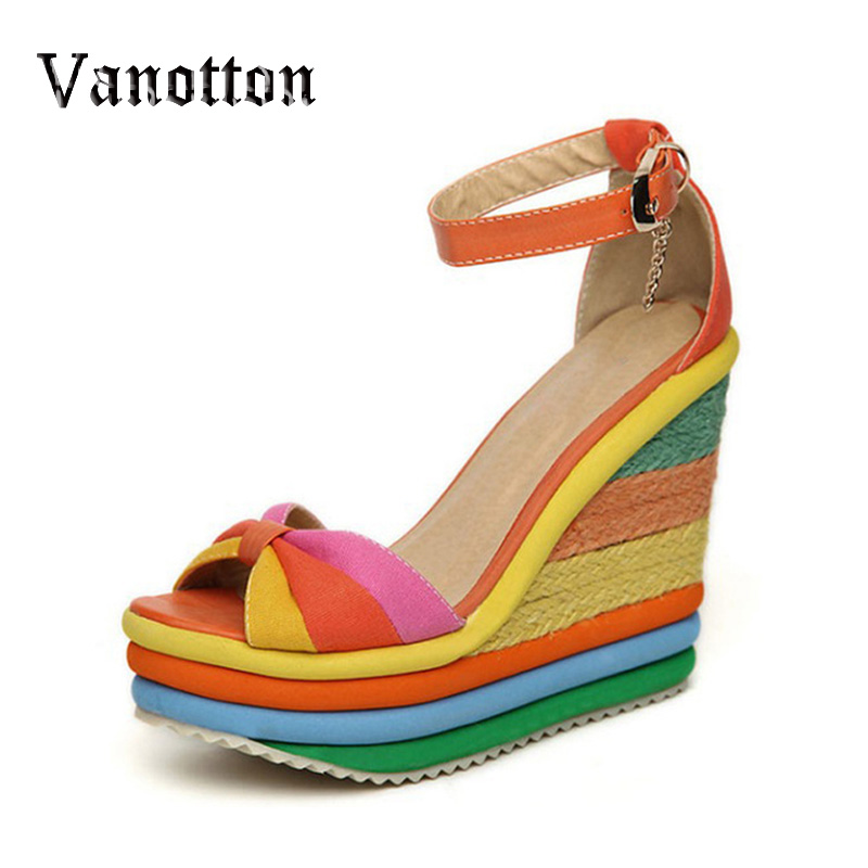 Rainbow Color Woman Sandals Platform Wedge Heel Bohemia Casual Summer Peep Toe Buckle Shoes Woman<br><br>Aliexpress