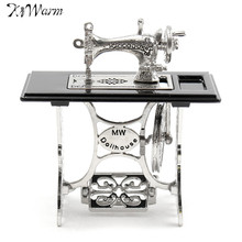 Kiwarm Cute Lovely Vintage Miniature Dollhouse Sewing Machine Furniture Table Metal Crafts Home Decoration Ornaments New(China)