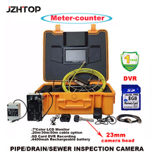 Video Inspection Camera For Pipe Wall Well Duct Drain 20m Cable With Meter Counter DVR ABS Suitcase 8G SD Card Battery Endoscope(China)