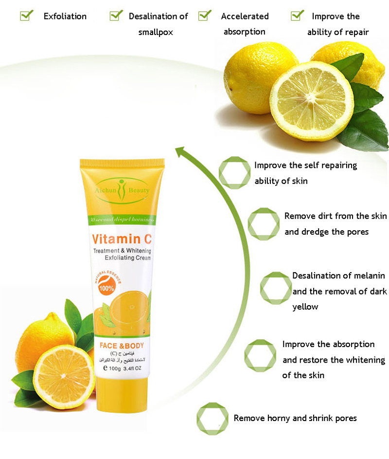 AICHUN 100g Herbal Vitamin C Treatment Whitening Mildly Soften Exfoliating Cream Peeling Gel Face Body Beauty Skin Care 3