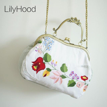 Handmade Floral Embroidery Kiss Lock Bag Shabby Chic National Vintage Retro Elegant Rustic Victorian Cottage White Handbag Etsy