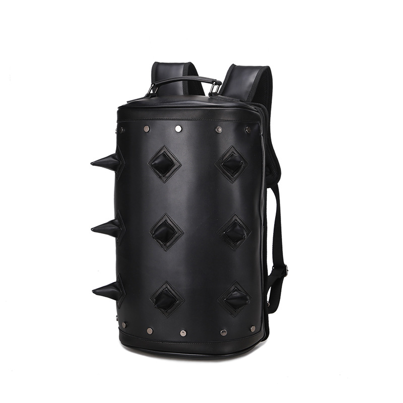 Steelsir New Famous Design bag Men korean tidal rivet Backpack Leather cylinder Ball Backpacks Travel Hand Bags bagpack Mochila<br>