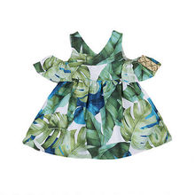 Kid Toddler Baby Girls Outfits leaf Clothes Off shoulder Tops Tutu Dress One-Piece Beach Dress