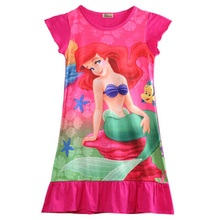 New Fashion Summer Princess Girls Kids Little Mermaid Ariel Dress Pajama Dress Nightwear 6-16 Years Baby Clothing Set Costume