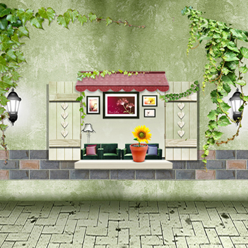 Spring Green Photography Backdrops Cartoon Chinese Wistaria Brick Floor Children Birthday Photo Backgrounds 150cm*200cm<br><br>Aliexpress