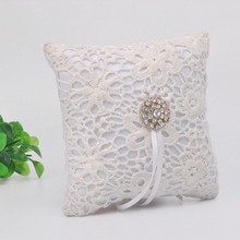 Flash Diamond Romantic Wedding Ring Pillow Lace Hollow Out Cushion Pincushion rings Party Decoration supplie casamento decor F1