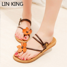 LIN KING Comfortable Slip On Flip Flops Wedge Sandals Sexy Solid Women Summer Shoes Fashion Height Increase Woman Summer Shoes