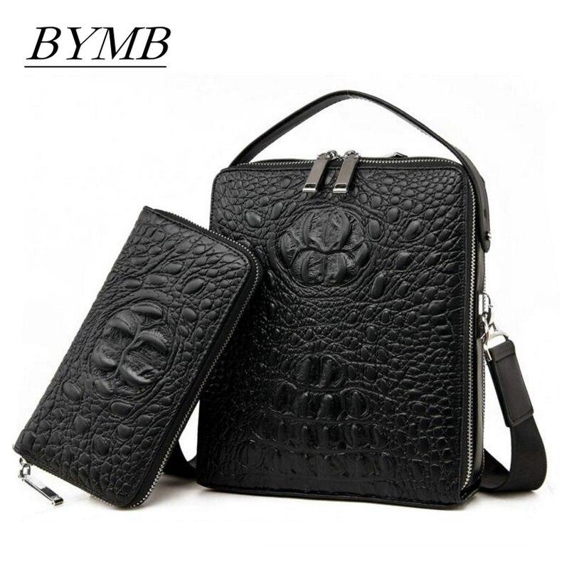 Brand package 2017 Mens Genuine leather handbag for men Business casual crocodile skin single shoulder bag Fashion Crossbody<br>