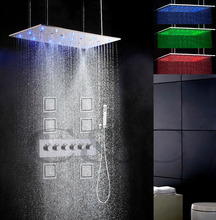 5 Water Functions Work Together Or Separately 80X40 CM Rain Swash & Atomizing Shower Head Bathroom LED Shower Faucet Set
