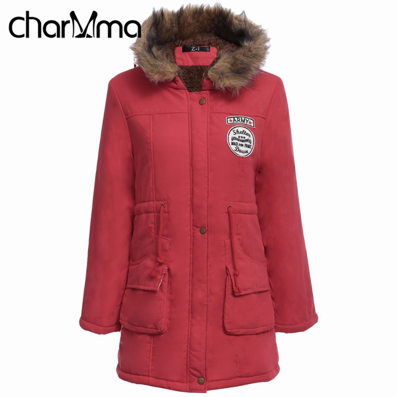 charMma Red Down &amp; Parkas Fur Hooded Winter Jacket Women Woolen Thick Jackets 2017 Female Warm Long Down Coats Parkas Plus SizeОдежда и ак�е��уары<br><br><br>Aliexpress