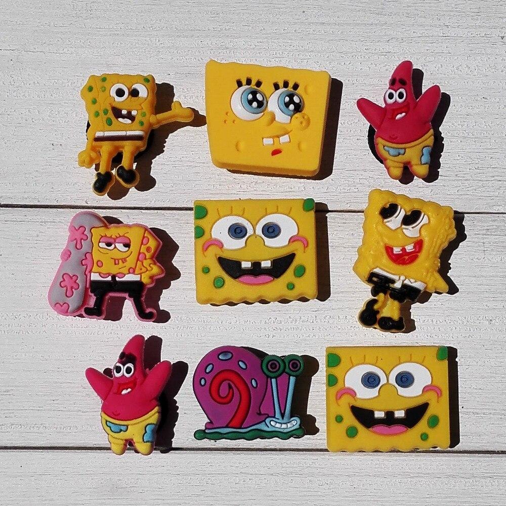 Free Shipping 100pcs Sponge Bob shoe decoration shoe charms shoe accessories kids gift <br><br>Aliexpress
