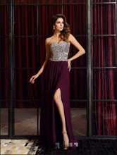 2017 best selling purple chiffon heavily beading evening dress open back sexy summer beach a line evening gowns Robe De Soiree