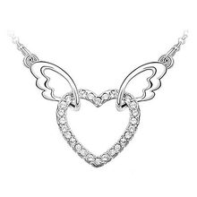 Peacock Star Angle Wing Clear White, Blue, Purple, Pink Heart Austrian Crystals Necklace CSN331