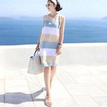 runback Striped Sundress Women Linen Sleeveless Short Mini Cotton Casual Summer 2018 Women's Clothing Bohemian Dresses Jurken