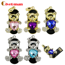 Usb Flash Drive 64GB Hot Sale Diamond Heart Bear Usb Pendrive 16GB 32GB 64GB 128GB Jewelry Pen Drive Pendriver Necklace Gift