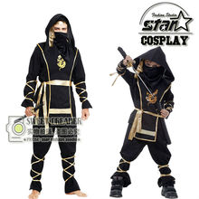 Family Match Halloween Cool Father Men Boys Son Black Gold Ninja Samurai Cosplay Costume For Stage Performance Masquerade Party(China)