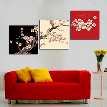 3 Panels Modern Printed Canvas Painting Picture Plum Pattern Wall Art Home Decor For Living Room Wall Picture wedding decoration
