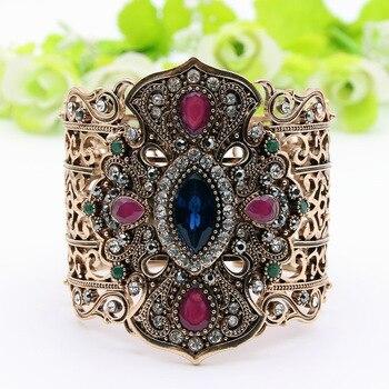Ethnic Turkish Women Broadside Bangles Bracelets Adjustable Size Antique Gold Color Resin Jewelry Hollow Flower Bride Bangle