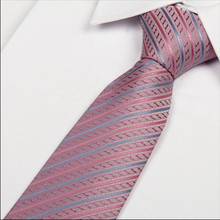 SHENNAIWEI 2016 new arrival pink and blue striped tie cheap ties for men necktie mens wedding 8 cm