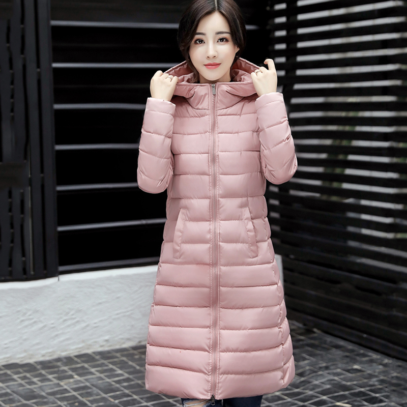 2017 hooded long women winter coat solid color black pink womens coat plus size 3XL parka padded jaqueta feminina invernoÎäåæäà è àêñåññóàðû<br><br>