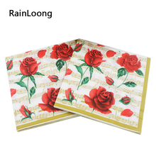 [RainLoong] Cocktail Paper Napkins Red Rose Festive & Party Tissue Decoration 33cm*33cm 20pcs/pack(China)