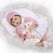 NPK Fiber hair Rooted Handmade Dolls Reborn Babies 55 cm Realistic Girl Soft Silicone Baby Dolls Free Wear Pink Shirt Bear Gifts