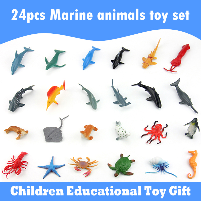 (24 pieces/set) Ocean Animals Mini Figures dolphin shark whale squid Sea Marine Life Plastic Model Children Educational Toy Gift(China)
