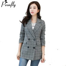 Buy PEONFLY High Women Gray Plaid Office Lady Blazer Jacket Fashion Notched Collar Work Suit Elegant Work Blazers Feminino for $24.00 in AliExpress store