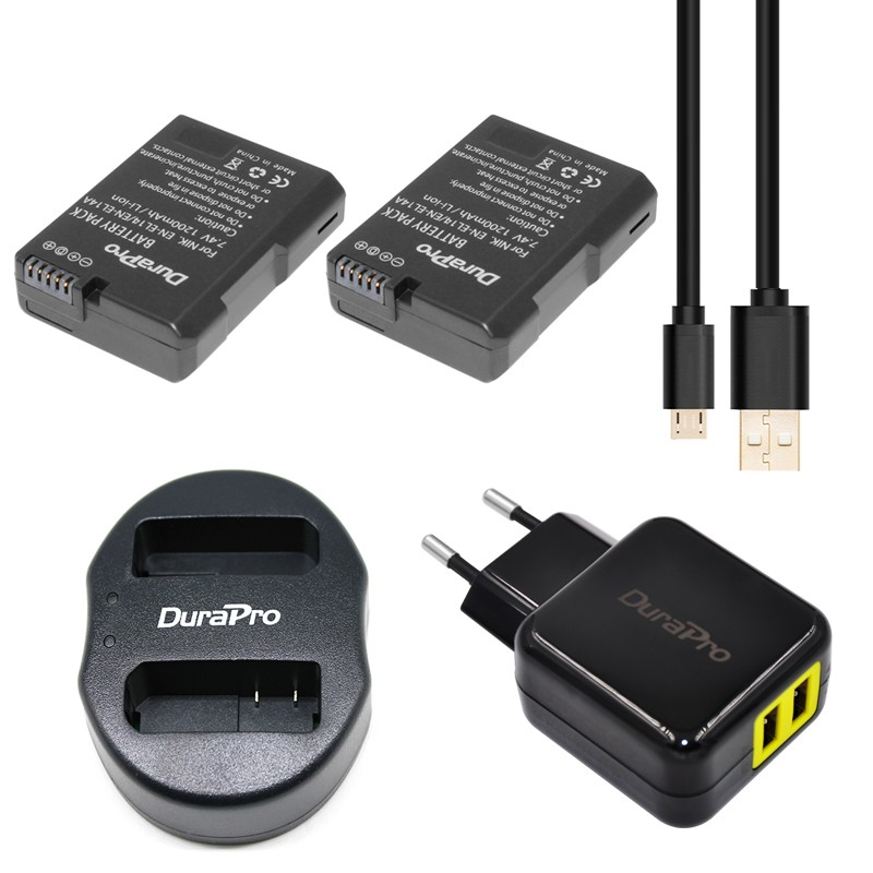 2pc EN-EL14 ENEL14A EN EL14 Battery + Dual USB Charger + AC Power Plug Adapter Nikon D5200 D3100 3200 D5100 P7000 P7100