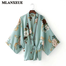 Women Vintage Floral Loose Kimono Shirts Oversized Bow Tie Split Coat Ladies European Style Casual Fashion Holiday Style Tops(China)