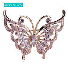 MECHOSEN Fashion Green Rhinestone Butterfly Brooches For Women Prong Setting Crystals Gold-color Wedding Corsage Pins Hats Dress