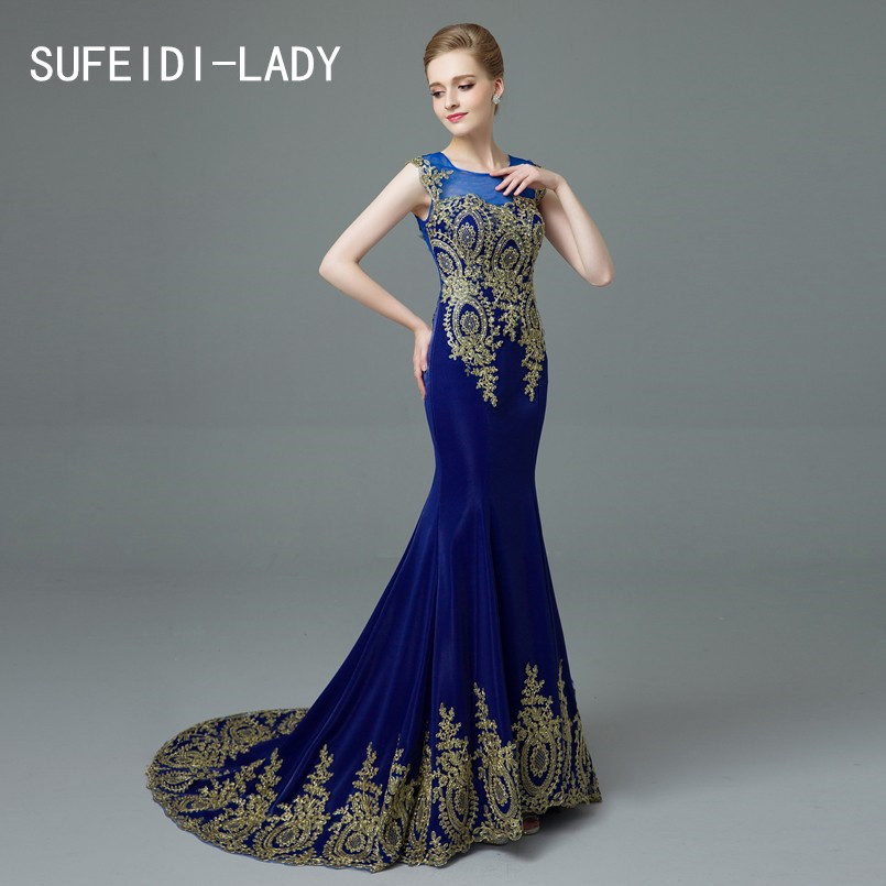 Weddings & Events Bright E Jue Shung Royal Blue Velvet Mermaid Evening Dresses Long Crystals Backless Luxury Evening Gowns Prom Dresses Robe De Soiree 100% High Quality Materials