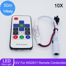 10sets/lot Mini LED RGB Controller Wireless RF 14key Digital for led strip WS2811 WS2812 WS2812B LED Controller(China)