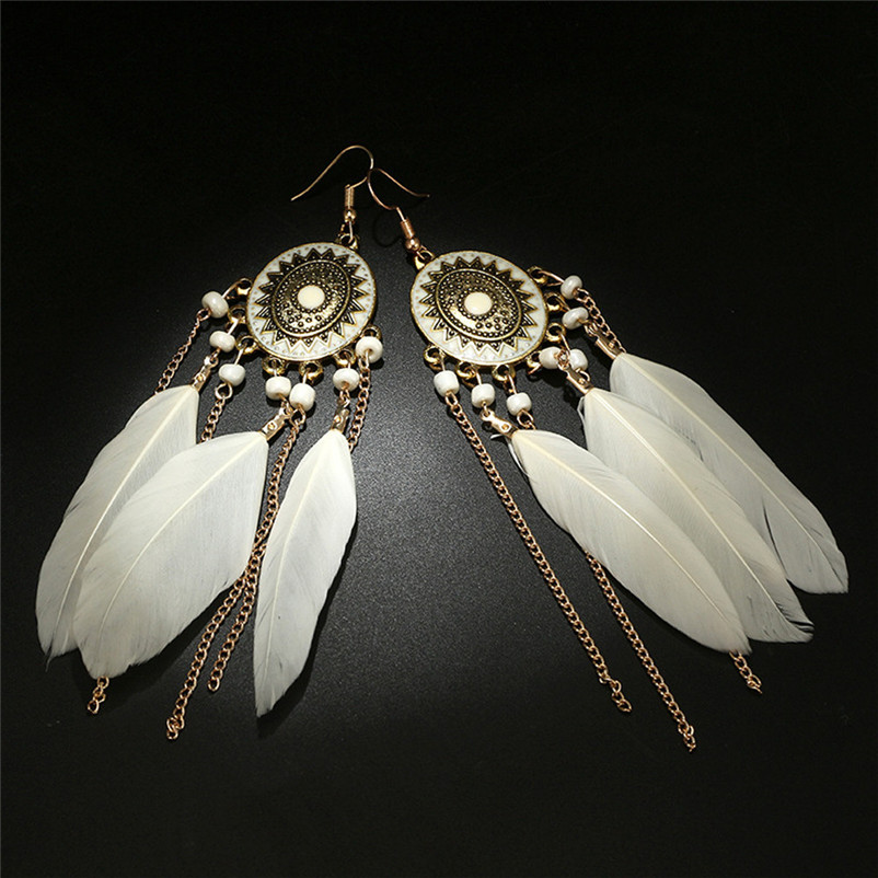 2018 Trendry Earrings for Women Vintage Women Bohemian Fashion Weave Tassel Earrings Long Drop Earrings Jewelry Brincos J05#N (2)