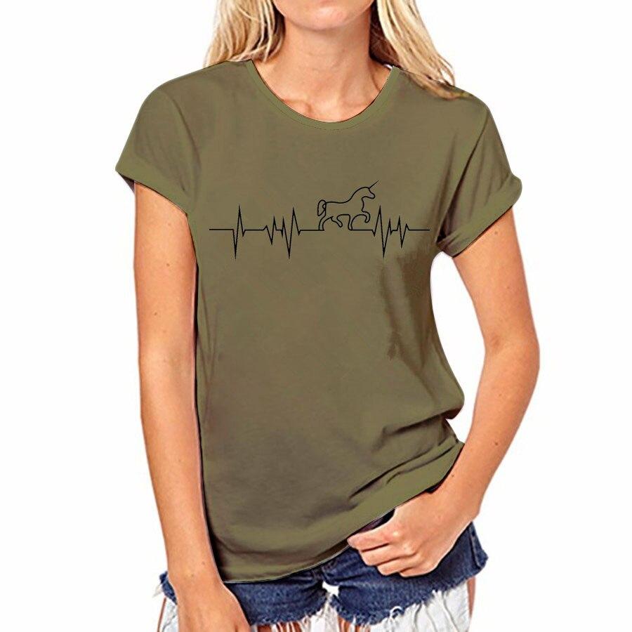 17 couleur D'été T-shirt Sexy Femmes Casual Tops Coton T-Shirt Harajuku Shirts Licorne O-cou À Manches Courtes Tops T-shirt Femelle 37