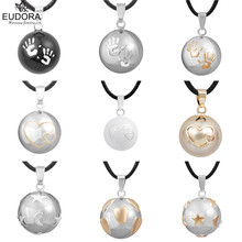 Baby Handprint Double Hearts Stars And Moon Pattern Mexican Bola Harmony Pregnancy Pendant Maternity Ball Angel Necklace