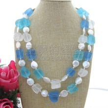 "N092503 21"" 2 Strands Multi Color Quartz Frosted Rough White Coin Pearl Necklace(China)"